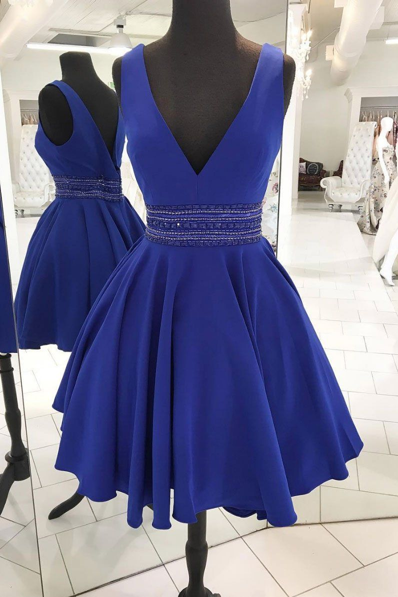 8e9de485f1ac Cute V-Neck Beaded Homecoming Dress,A-Line Royal Blue Short Prom ...