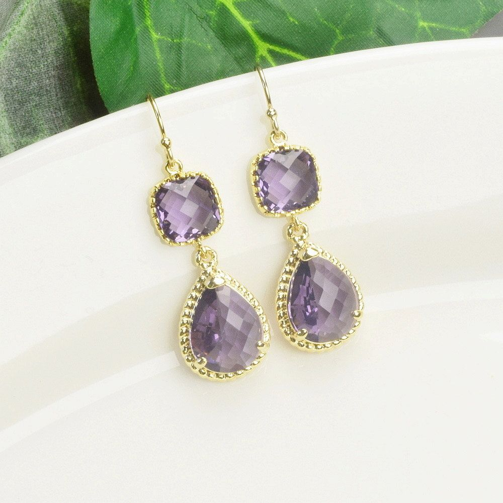 Amethyst Earrings Gold Purple Gl Drop Bridesmaid Wedding Jewelry