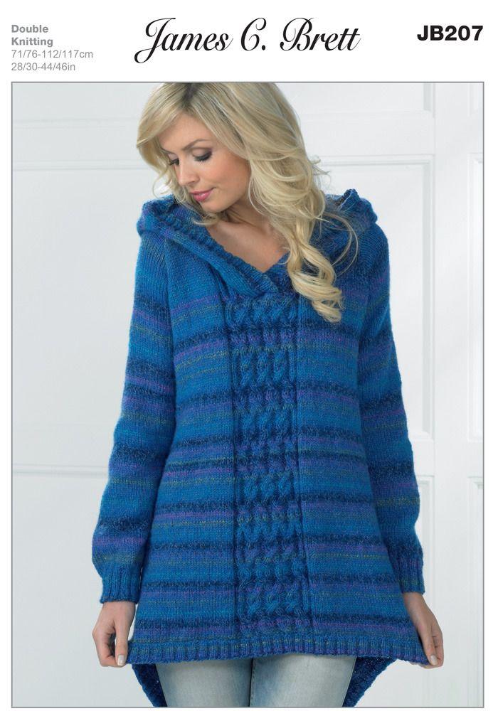 f49b50702  5.53 knit   Hooded Sweater in James C. Brett Marble DK - JB207. Discover  more Patterns by James C. Brett at LoveKnitting. We stock patterns