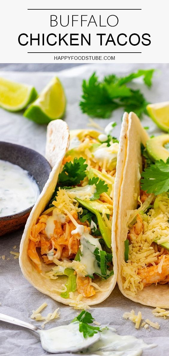 Buffalo Chicken Tacos Looking for recipes using rotisserie chicken? Buffalo chicken tacos are the way to go! This easy and quick recipe is customizable so feel free to experiment with fillings.