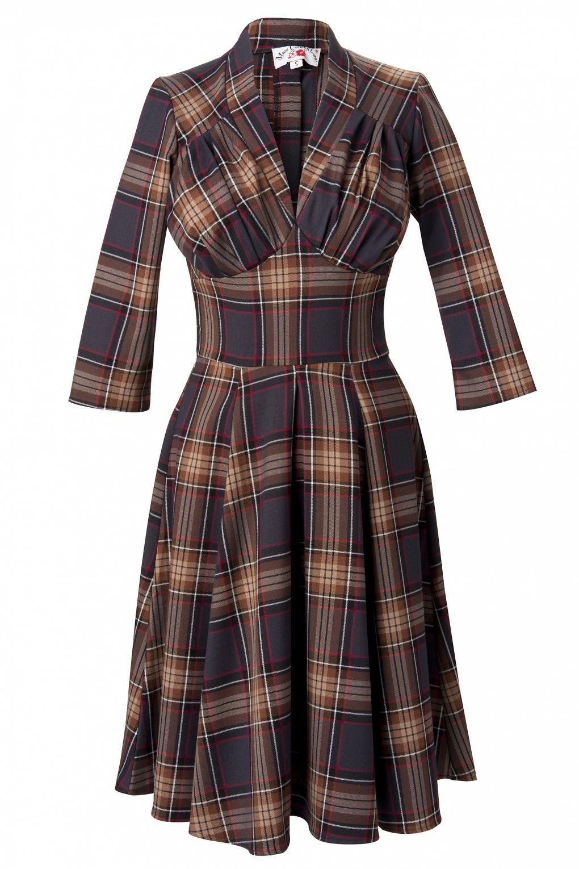 S lily brownred tartan sleeve swing dress in vintage