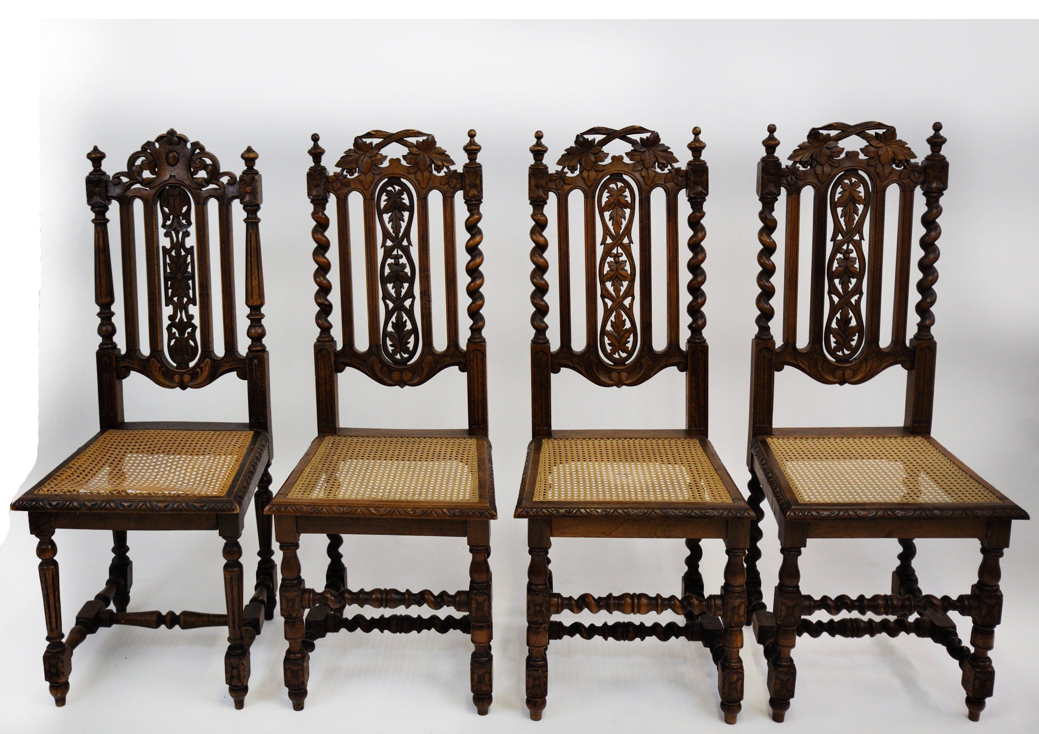 Marvelous Antique English Jacobean Dining Chair Set Of 4 Barley Twist Pabps2019 Chair Design Images Pabps2019Com