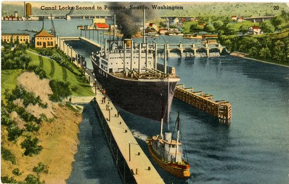 Vintage Washington postcard of the Seattle Canal Locks, second only