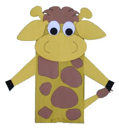 Giraffe Paper Bag Puppet... If I use the Jungle Animals/Animal theme, I think I'll be using this for Caiden's Birthday. Yay!