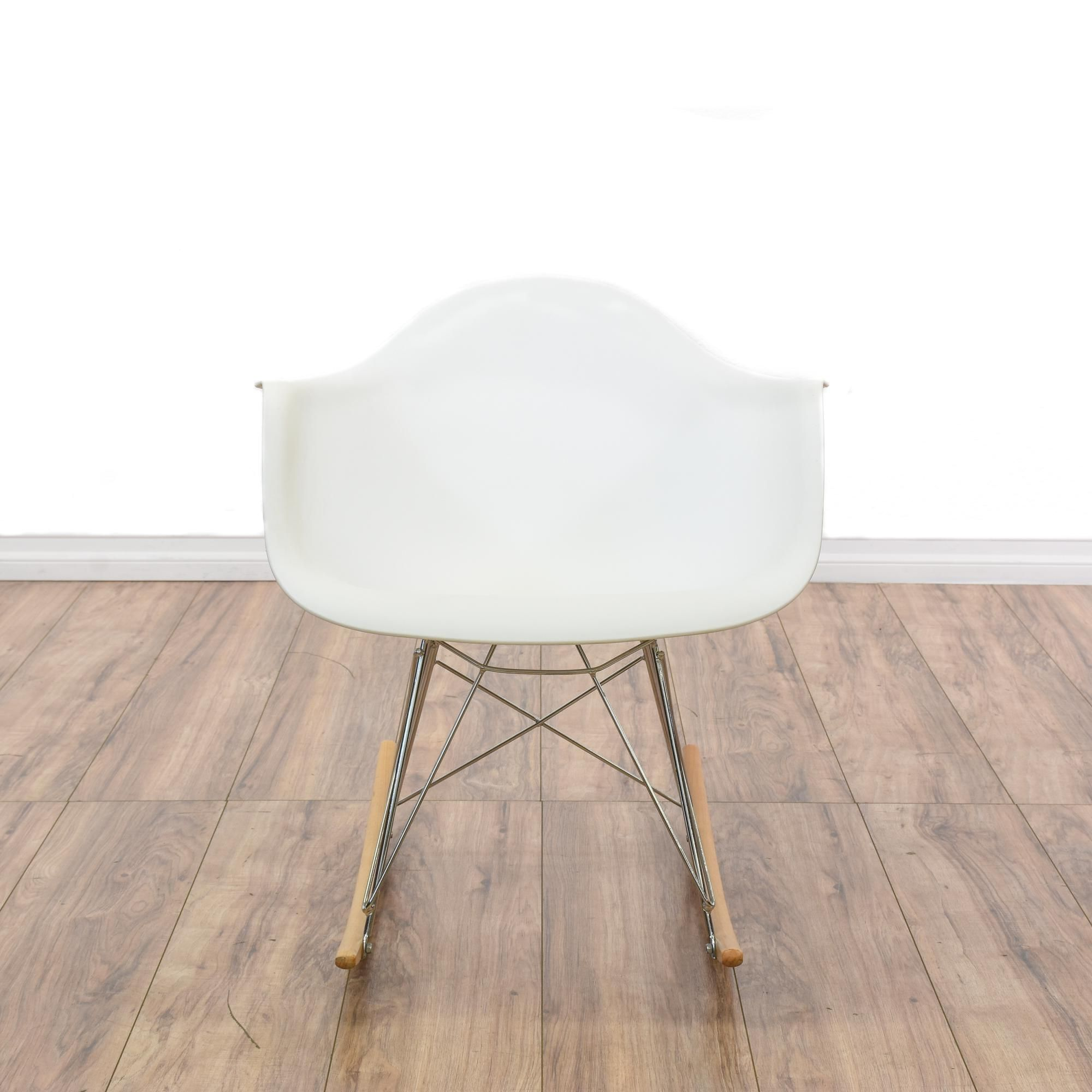 This Eames Style Rocking Chair Is Featured In A Durable White Molded  Plastic. This Mid Century Modern Style Replica Has Chromed Metal Support  Bars, ...