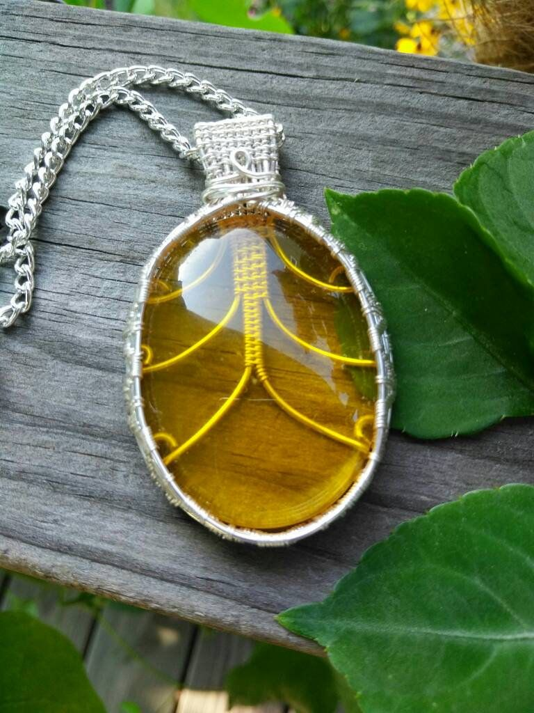 Citrine wire wrapped pendant necklace n sherry lynn jewelry