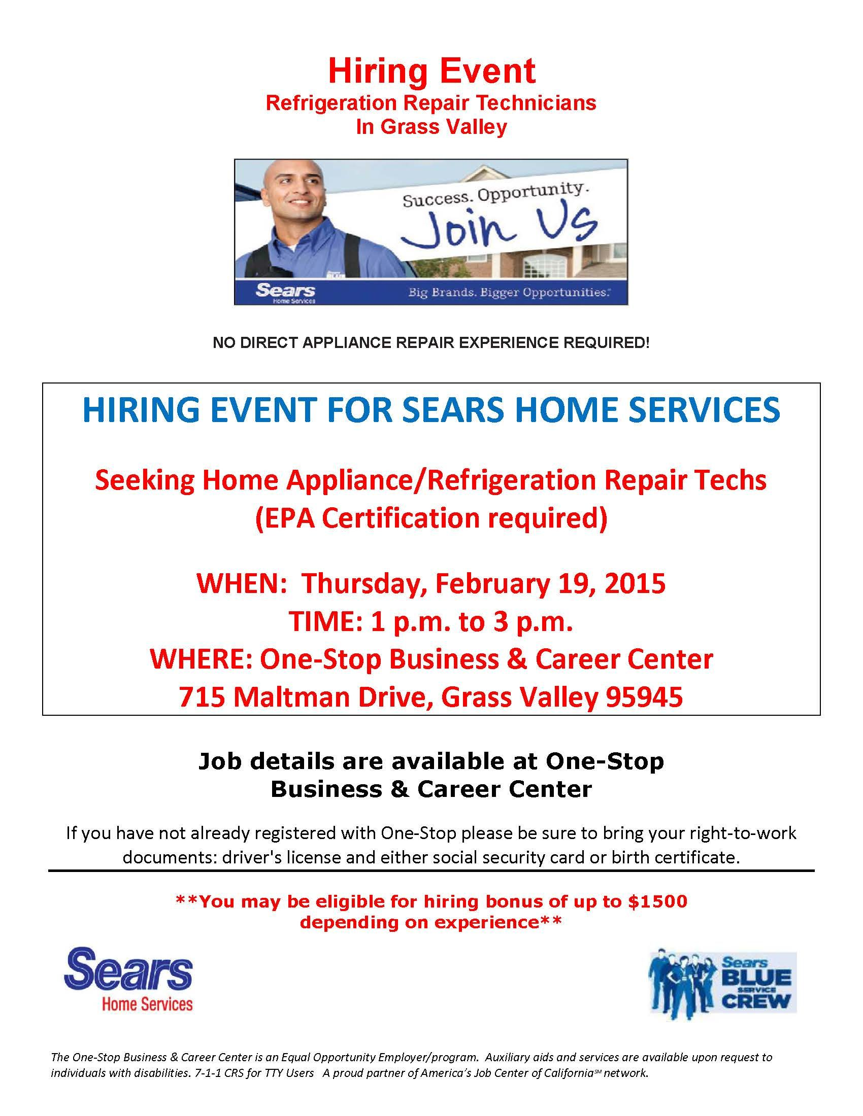 Sears Hiring Event Business Career Business Jobs Community Involvement
