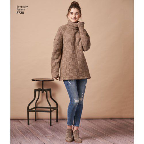 S8738 Misses\' Knit Mini Dress, Tunic or Top #simplicitypatterns ...