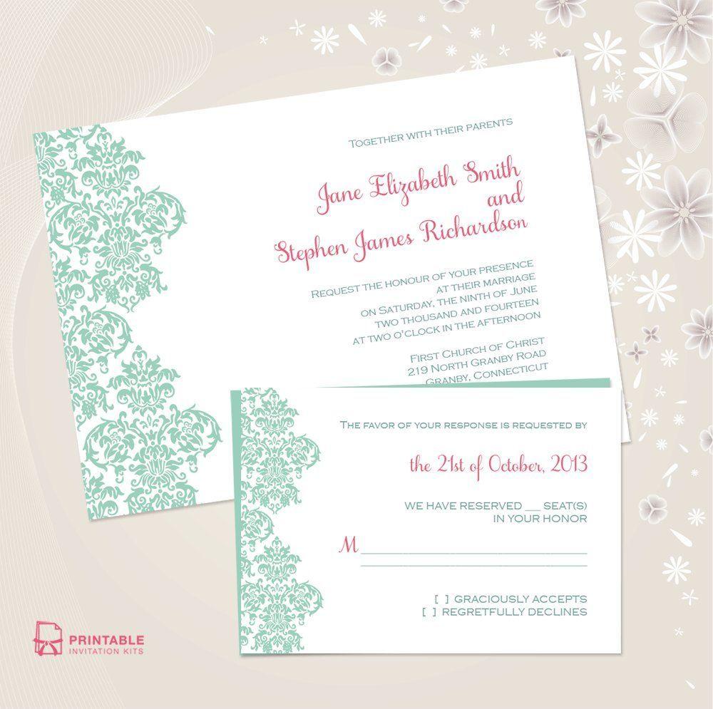 Damask Border Wedding Invitation | Fabrics Decorating | Pinterest ...