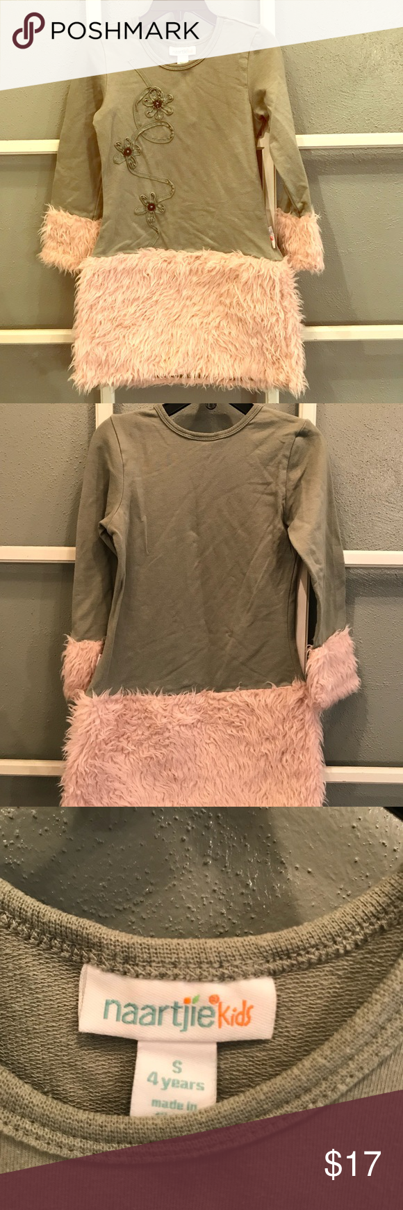 "~Naartjie Kids~ Dress with faux fur skirt Retired Naartjie... sage green dress with flower embellishments and light pink faux fur skirt. In excellent condition with no rips or stains."", just needs a good ironing. Comes from a pet and smoke free home!! naartjie Dresses #sagegreendress"