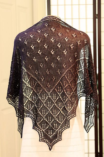 GORGEOUS LACE RIVER WALK SHAWL to KNIT by DESIGNS BY ROMI HILL