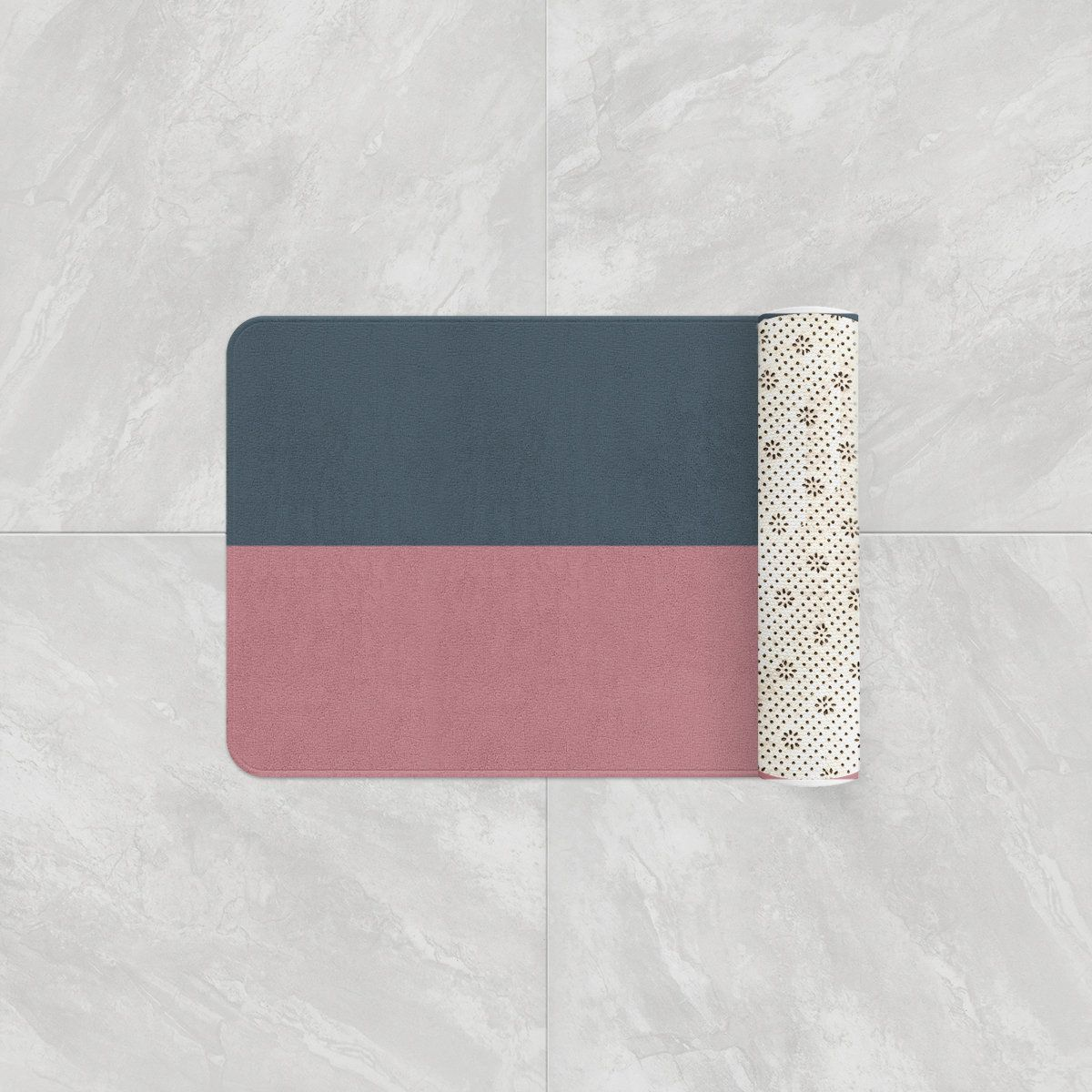 Charcoal Gray Dusty Rose Two Toned Bath Mats Absorbent Color