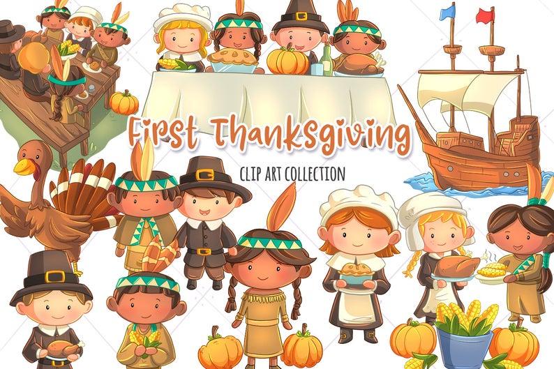 Cute Thanksgiving Clip Art First Thanksgiving Thanksgiving Etsy Thanksgiving Clip Art First Thanksgiving Clip Art