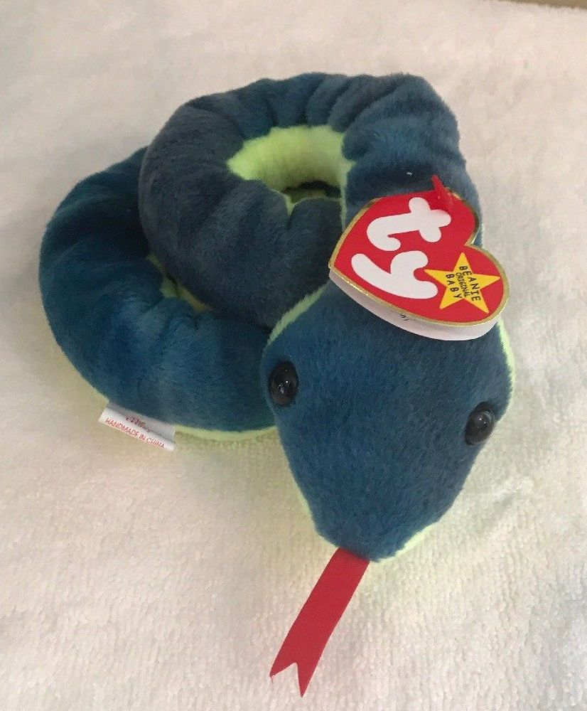 066edcb6564 1997 Ty Original Beanie Babies HISSY The Blue Green Snake w Tags (15 inch)   Ty
