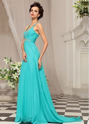 In Stock V-neck Blue Formal Evening Dress by DressilyMe | prom gown ...