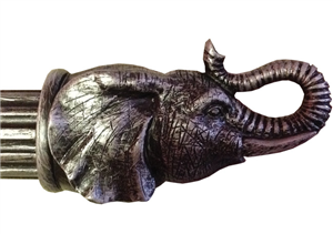 elephant head finial for 3 curtain rod