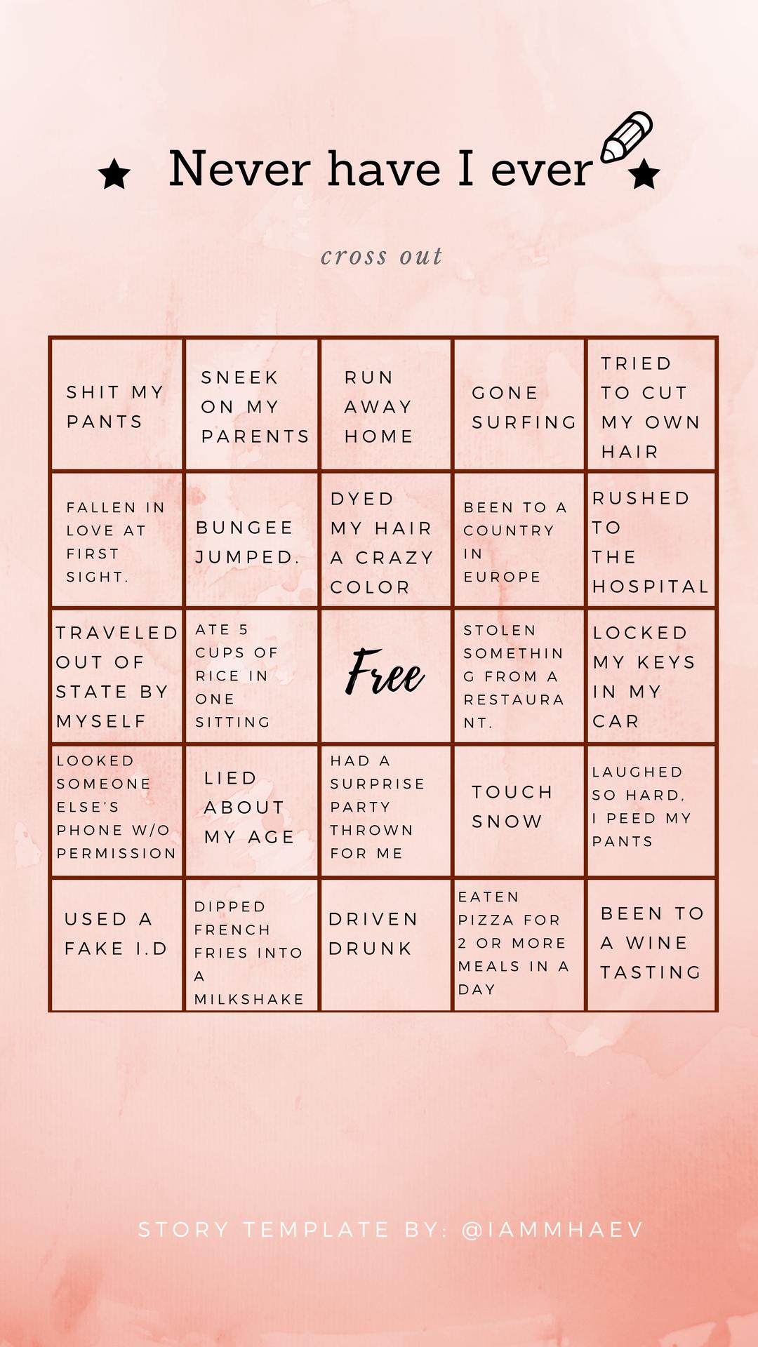 Never have I ever bingo Instagram Story Template