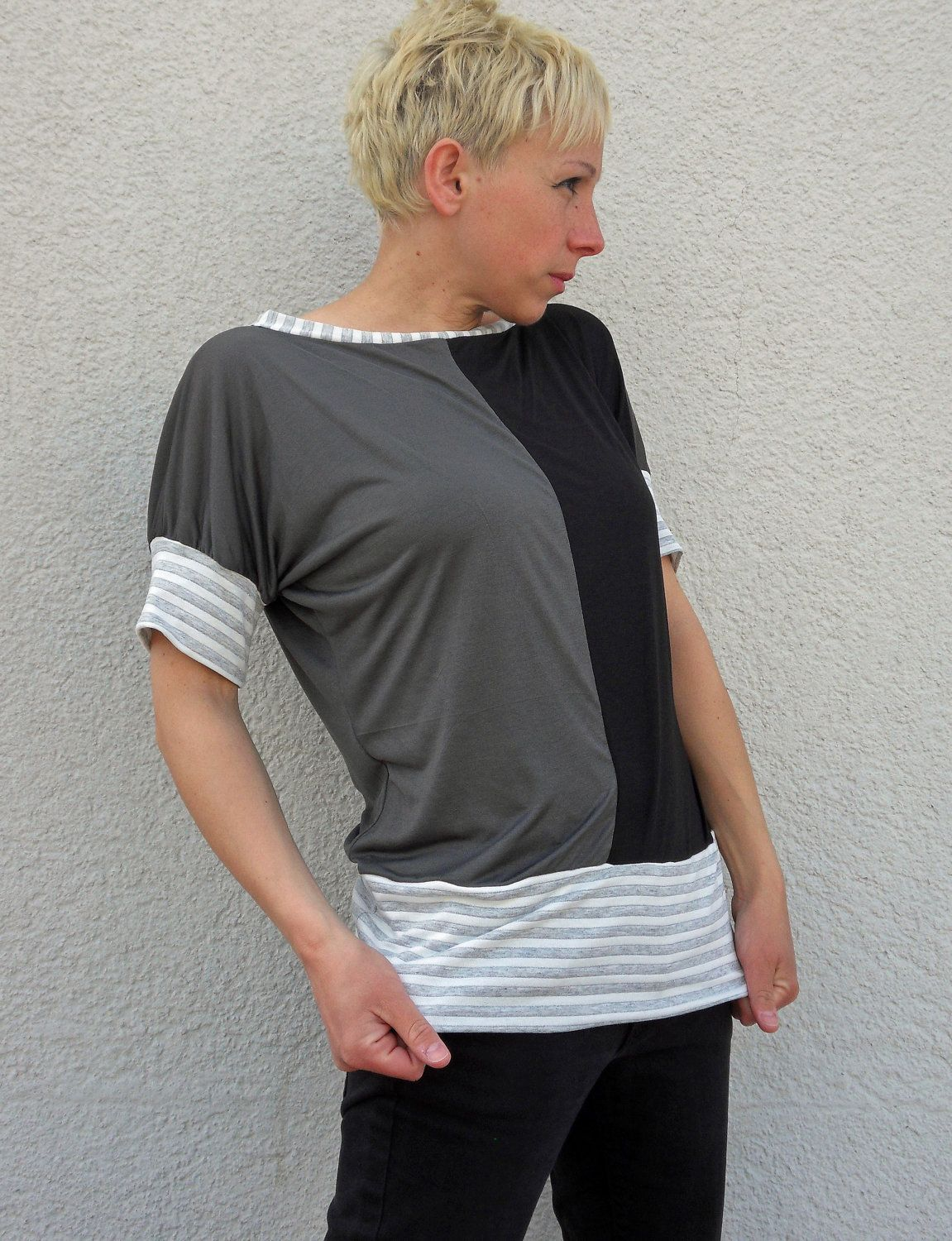 batwing sleeveless shirt in black and grey by sunflowerdesign. €29,00, via Etsy.