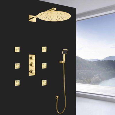 FontanaShowers Trialo Color Changing LED Volume Control Complete Shower System with Rough-in Valve | Wayfair