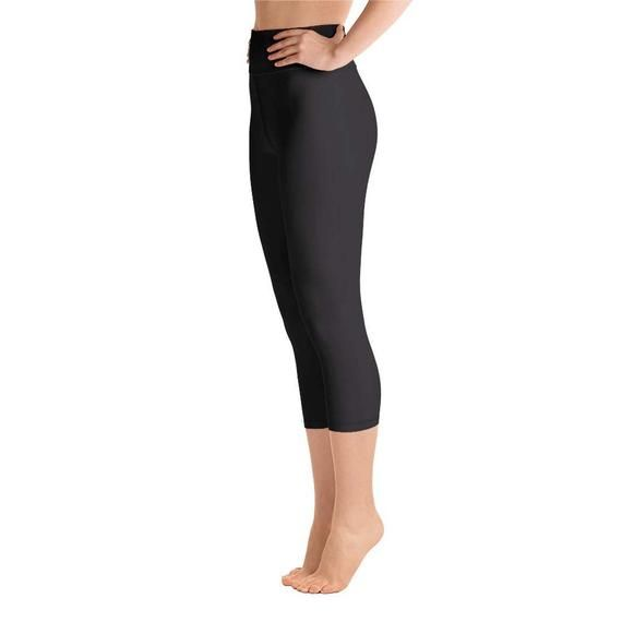 9379f2352069c8 Akai Black Women's Solid Black Color Yoga Capri Leggings | Etsy ...