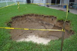 We recently witnessed a sinkhole happen in our back yard ...