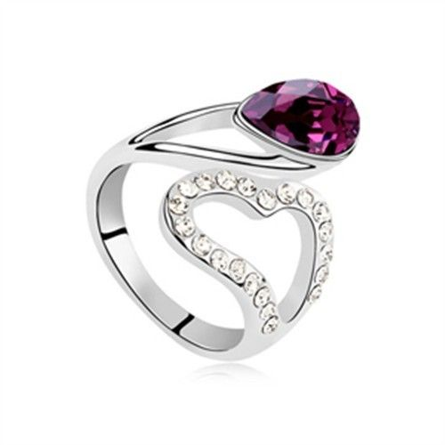 exquisite shine jewellery ring by swarovski elements purple blue