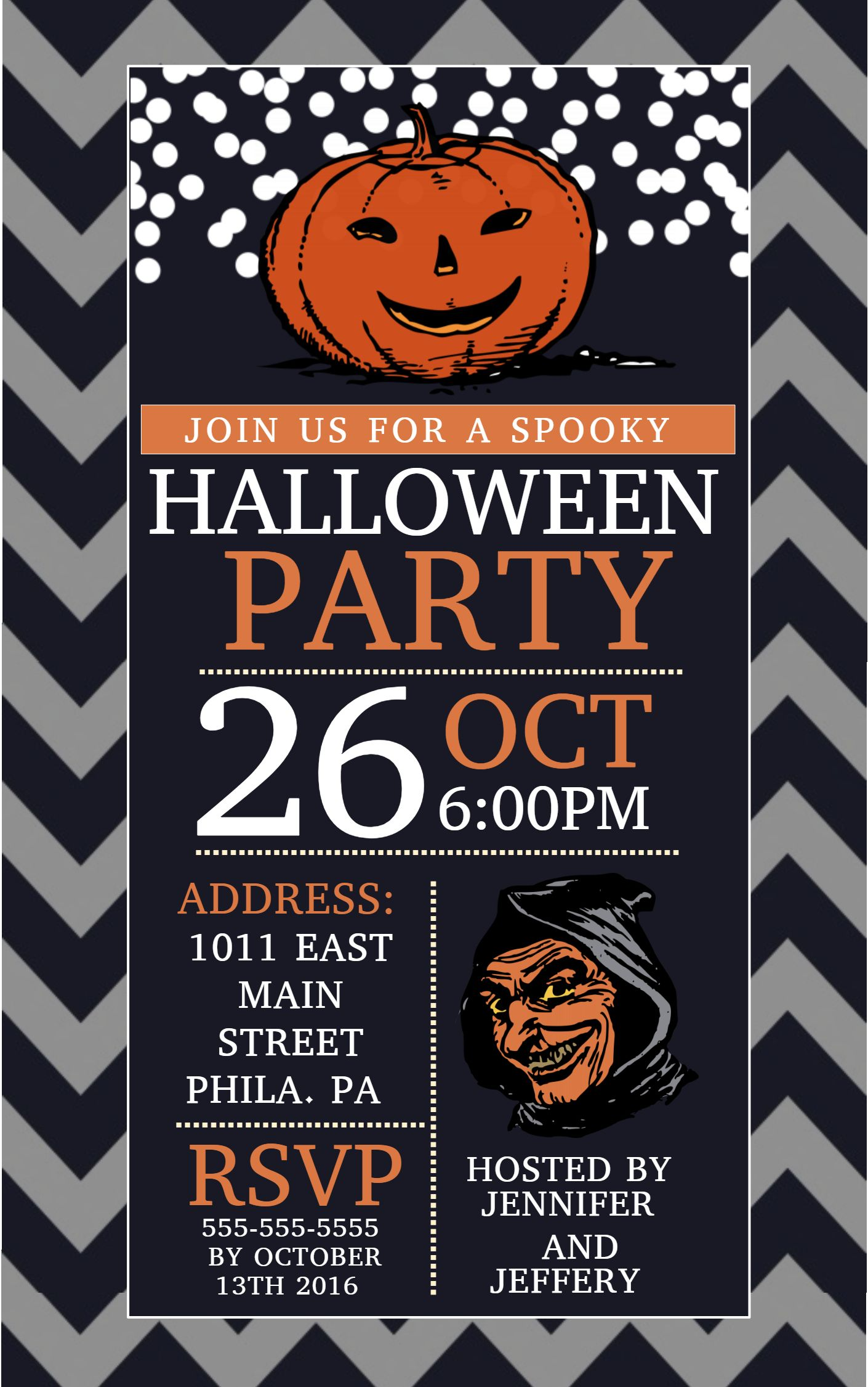 Halloween party flyer social media template. Halloween