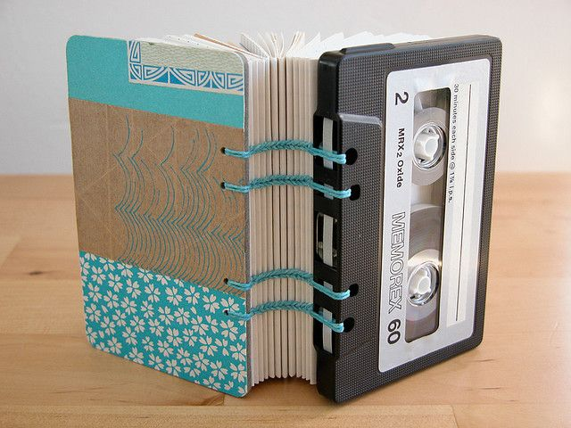 Cassette Tape Book - Blue Collage, by Erinzan