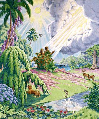 Genesis 1 Adam And Eve In Garden Of Eden Ew10213 Adam And Eve