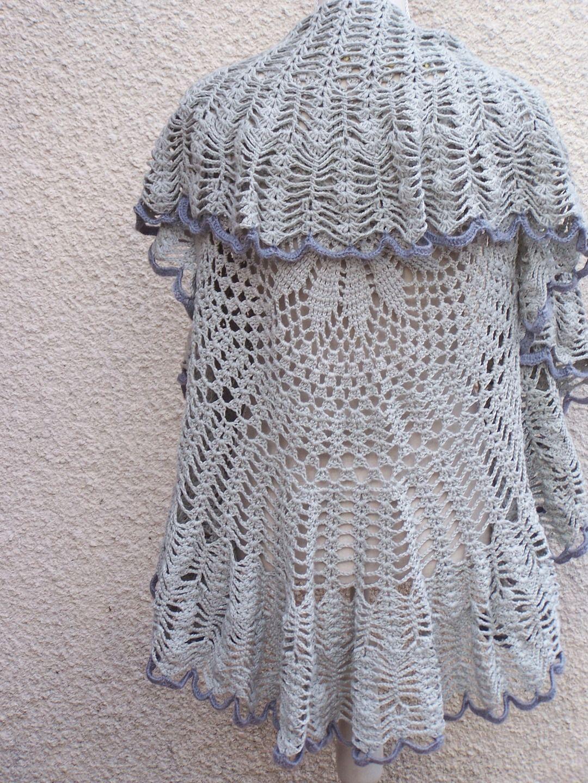 Gilet rond au crochet lin et coton gris pulls gilets par isa tricot pulls pinterest crochet - Modele tricot aiguille circulaire ...