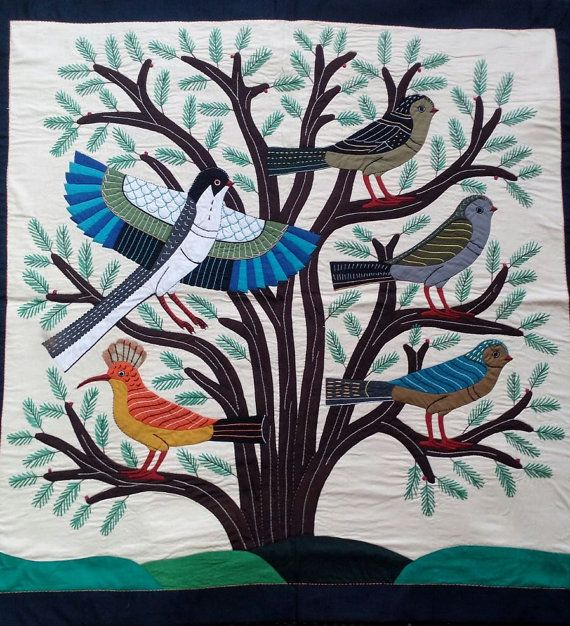 Mr Gamal Kolthoma Trees Of Life The Orange Hoopoe Or Hud Hud In Arabic Master Piece From Ancient Egypt Landscape Art Quilts Ancient Egypt Art Quilts