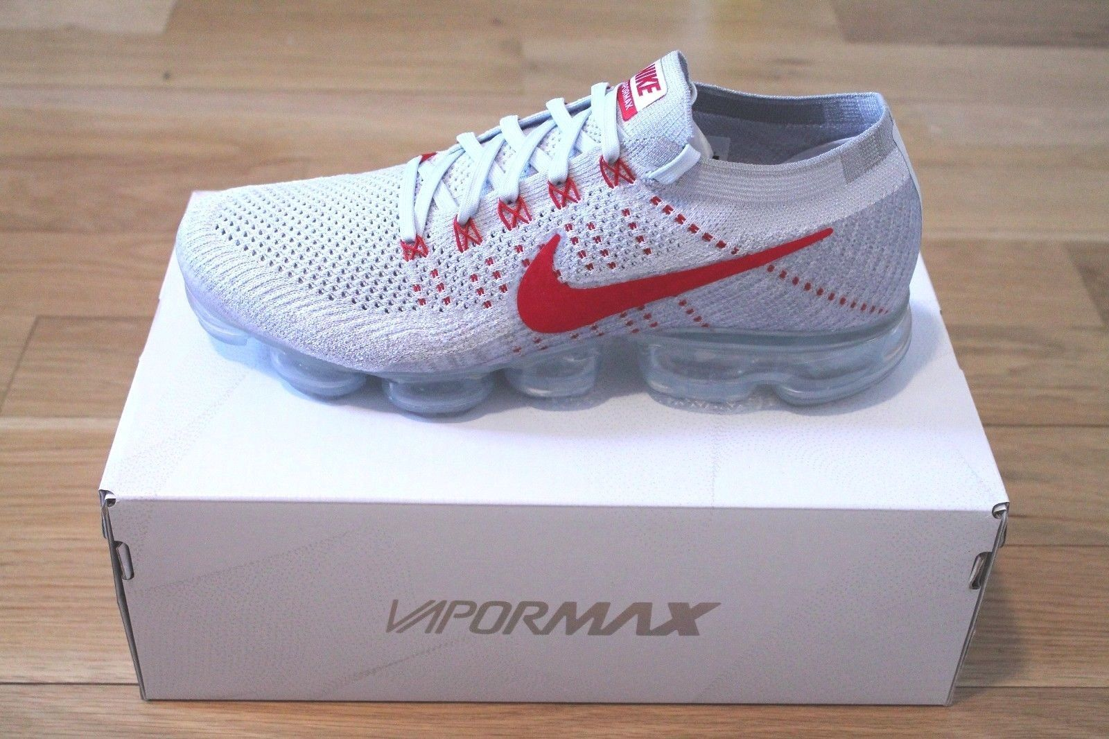 Nike Air VaporMax Flyknit 'Pure Platinum/University Red' - EU Kicks: Sneaker