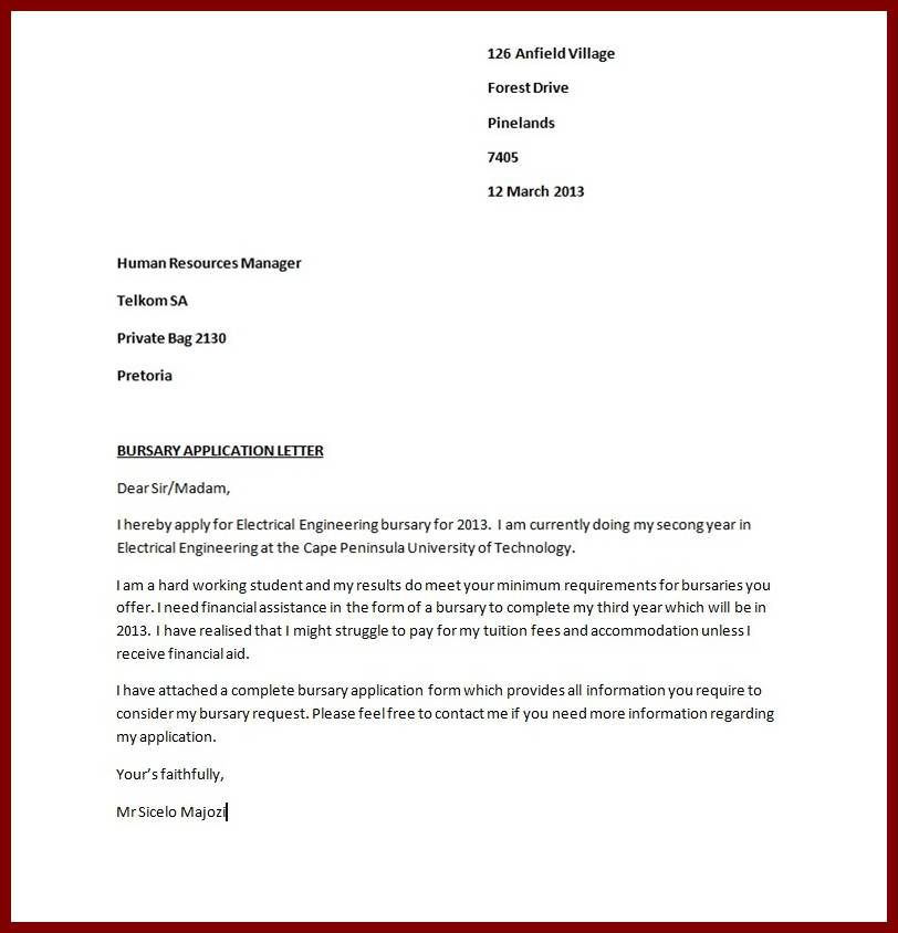 bursary application guide letter sample for scholarship - free sample cover letter for job application