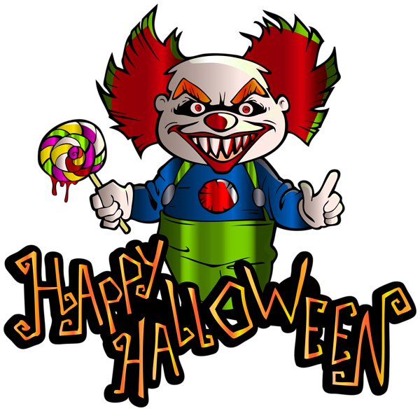 Happy Halloween with Clown PNG Clipart Image | Halloween ...