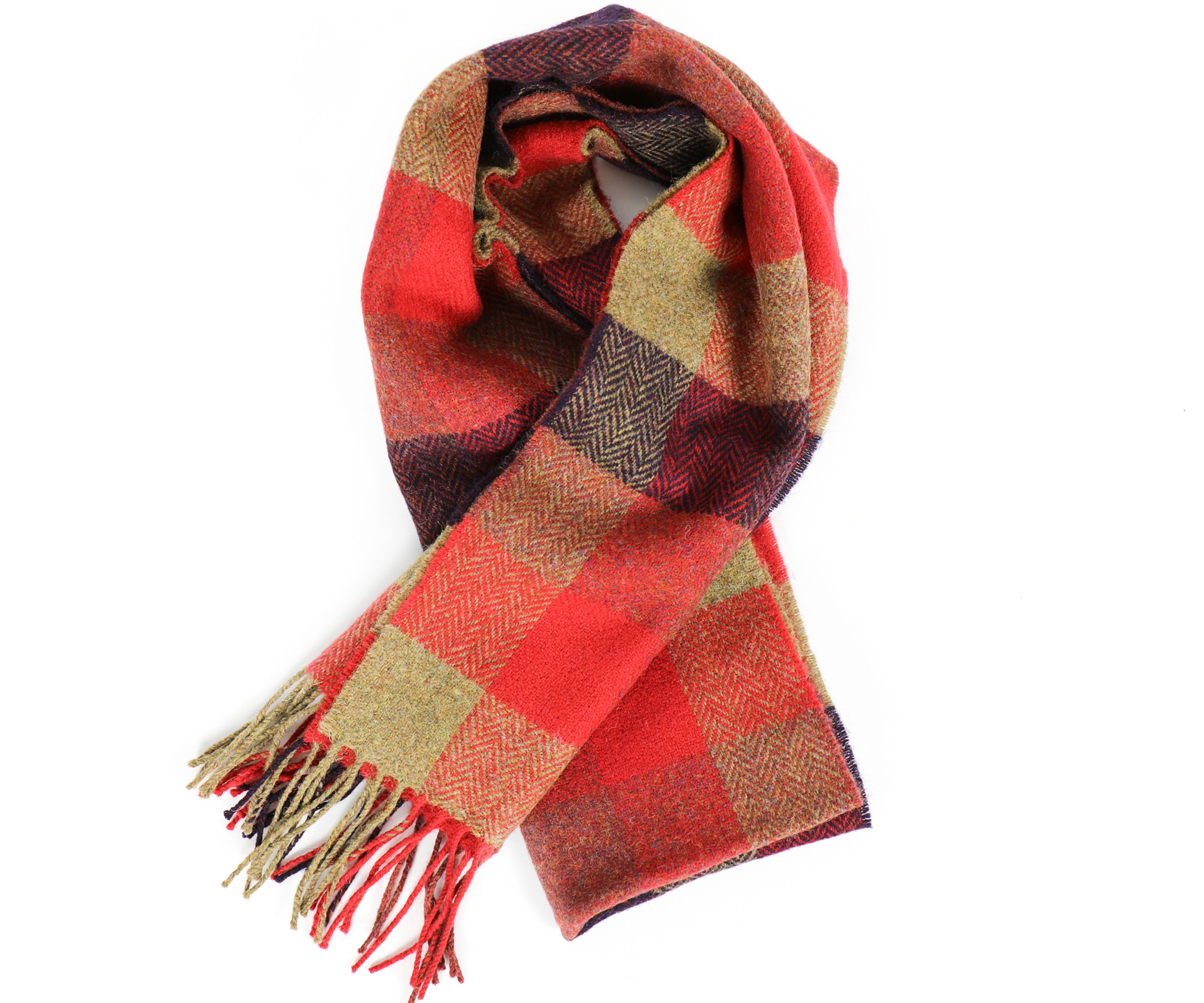 b4100280580a2 Foxford Woollen Mills Men's Check Lambswool Scarf in Red / Brown / Blue -  Beautiful Linens