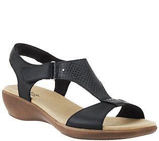 2b1e49ff5 Clarks Leather T-strap Sandals w  Adj. Strap - Roza Pine
