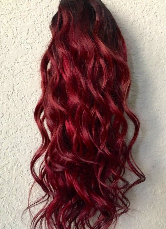Dark Red Clip in Hair Extensions, Human Hair Extensions, BurgundyHair, Clip in Extensions, Hair Extensions, Custom Made #humanhairextensions