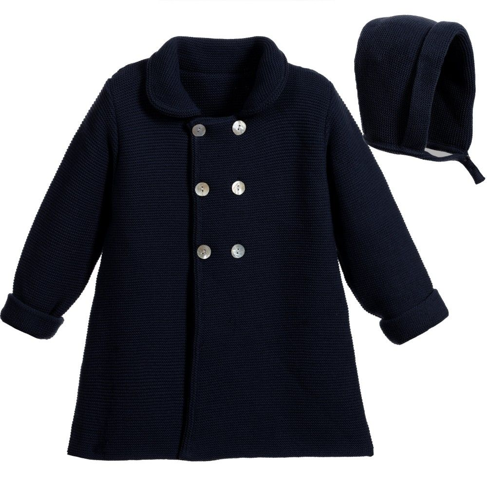 3c0fae338 Baby girls classic style navy blue pram coat and hat set by Paloma ...