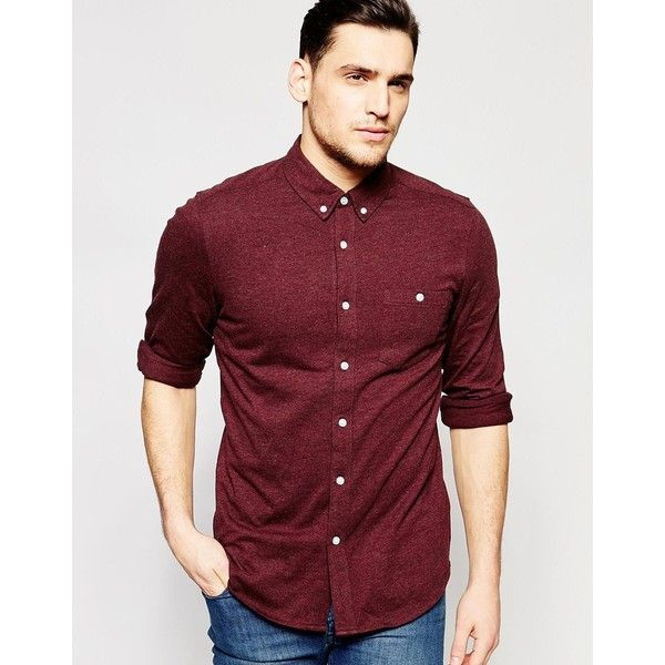 ASOS Jersey Shirt In Burgundy With Long Sleeves ($38
