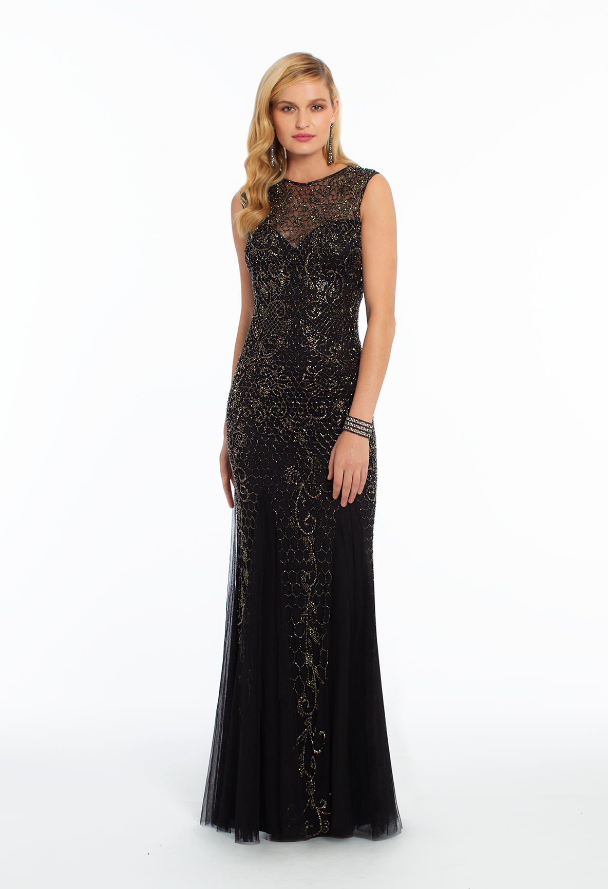 Sleeveless lace illusion microbeaded dress in new arrivals