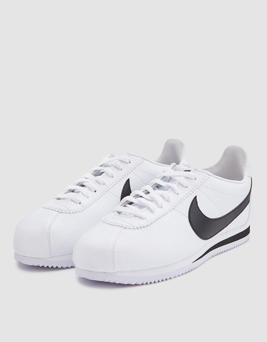 Nike Classic Cortez Leather Shoe In White Black Nike Leather Nike Classic Cortez Leather Classic Cortez