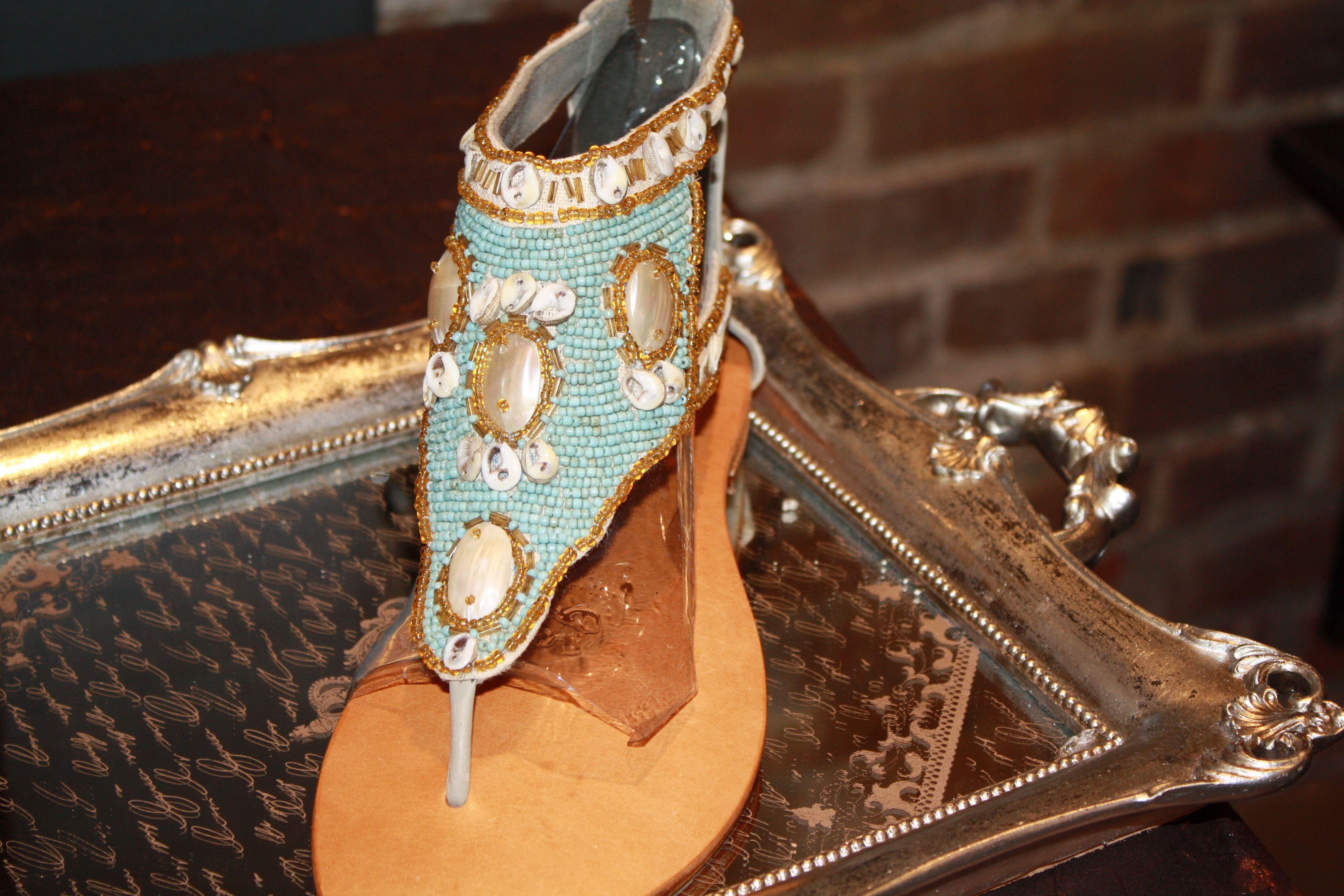 Turquoise Seashell Sandal
