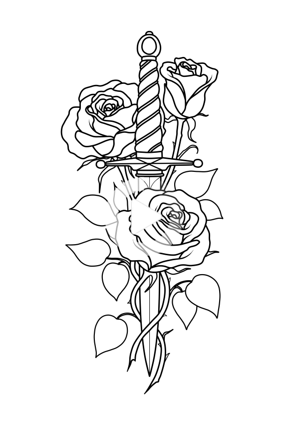 Knife And Roses In 2020 Small Rose Tattoo Rose Tattoos For Men Knife And Rose Tattoo