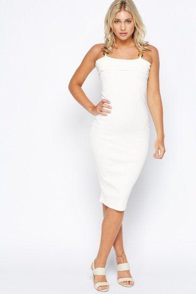 #everything5pounds.com #Dress Detailed Strap Ribbed Bodycon Dress at #Everything5Pounds