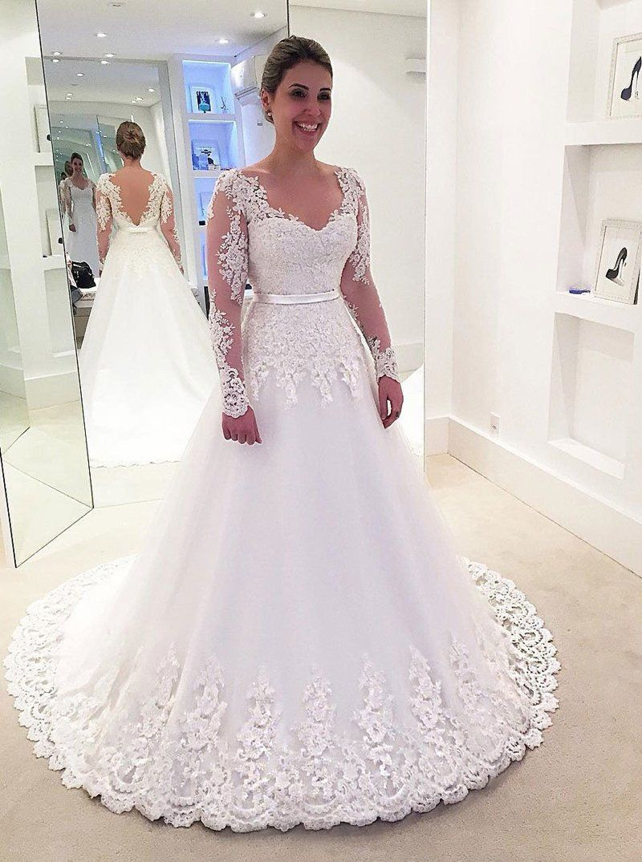 Classic wedding dressesbridal dress with sleeveselegant wedding