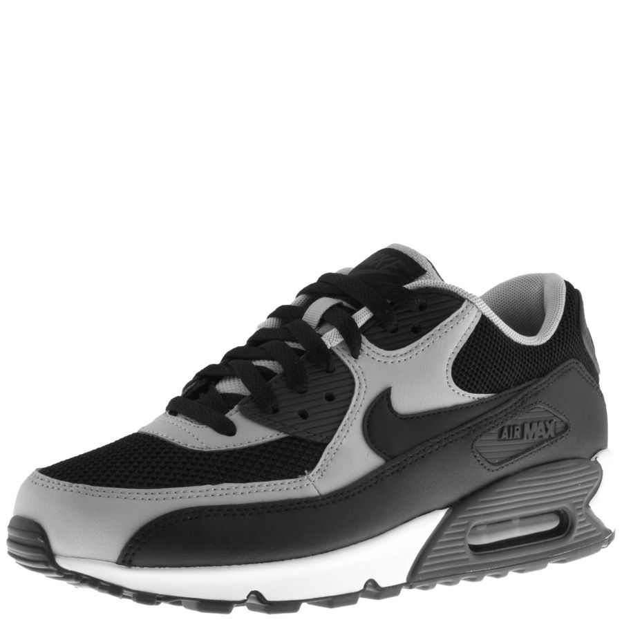 low cost fec09 3d9ae Nike Air Max 90 Essential Trainers In Black, Full front lace fastening in  black with black woven mesh uppers and black and anthracite rubberised  panels ...
