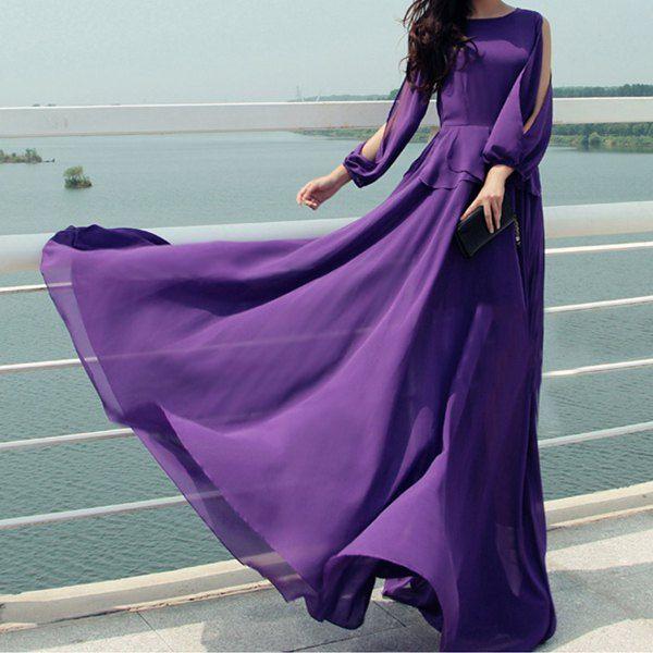 9ef2fccfd4ca Stylish Jewel Neck Solid Color Off-The-Shoulder Long Dress For Women ...