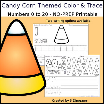 Candy Corn Themed Number Color and Trace Kindergarten