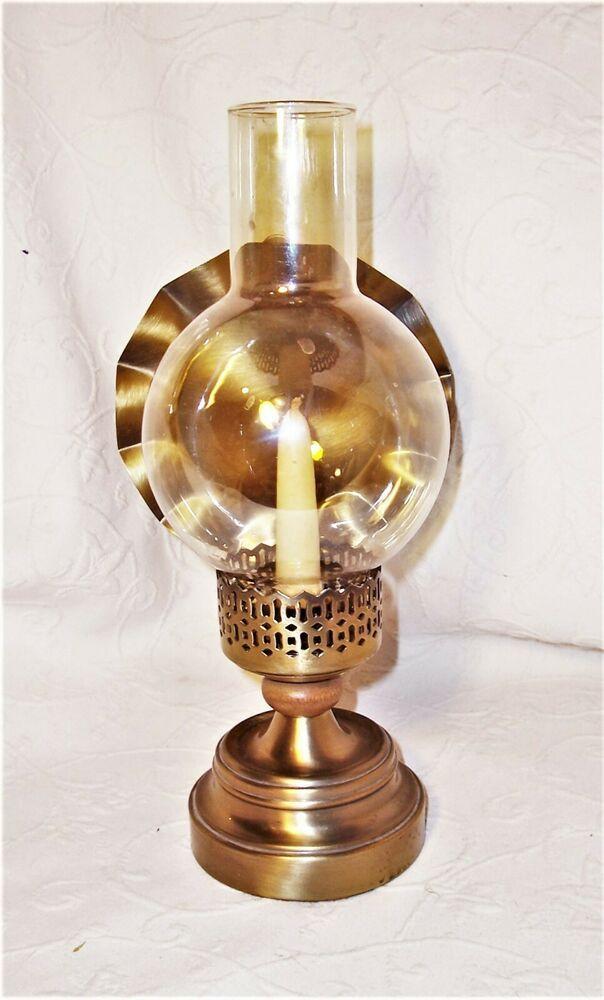 Unusual Reproduction Antique Oil Lamp, Vintage Wood Oil Lamp Holder