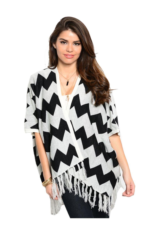 Chevron Print Kimono Cardigan W/ Fringe Trim | Cute Kimono ...